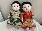 "Antique ICHIMATSU Dolls 10.5"" Boy Antique Japanese Doll Lot Of 2"