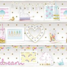 Arthouse Girls Life Childrens Wallpaper Polka Dot Pattern Heart Glitter 696004