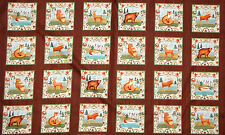 "Woodland Animals Fox Owl Moose Wild Woods Cotton Fabric Windham - 24""X44"" PANEL"