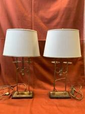 Coppia lampade in ottone con cappello in tessuto cm 65x20x10 Antikidea