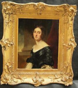 FINE c1840 REGENCY PORTRAIT YOUNG LADY IN A SILK DRESS Antique Oil Painting