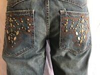 ANTIK Denim  *BOOTCUT Jeans Men's NWT Medium Blue with STUDS Size 36x34
