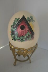 Vintage Large Hand Painted blown Ostrich Egg Brass stand Bird House