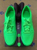 New Gucci Mens Trainer Sneaker Green Leather Shoes UK 8.5 US 9.5 EU 42.5 Neon