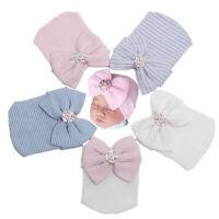 Winter Baby Infant Striped Cap Hospital Newborn Soft Beanie Bow Rhinestone Hat