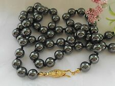 "Hematite Black Bead Necklace 25"" Long"