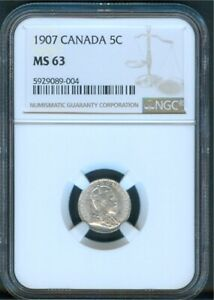 Canada 5¢ Silver 1907, NGC MS63