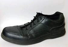 Dr Scholls Men 13 EE Extra Wide Moc Toe Laces Oxford Shoe Leather Black Sneaker