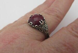 Samuel Benham BJC 925 Sterling Silver Genuine Ruby Ring Elegant Filigree Size 10