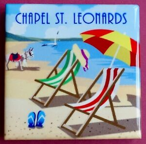 Souvenir Fridge Magnet Chapel St. Leonards Beach And Deckchairs England