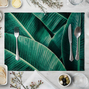 Green Leaf Placemats Heat Resistant Place Mats Non-Slip Dining Table Mat Gift #A