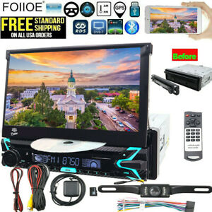 """7"""" Single 1DIN Touch Screen Car Stereo Radio Bluetooth USB AUX IN CD/DVD Camera"""