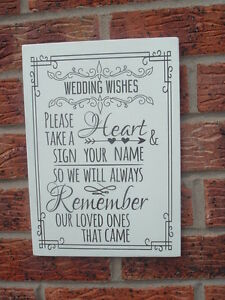 Please Sign a heart drop box heart wedding shabby vintage chic plaque sign