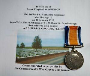 WW1 War medal. Yorkshire Regiment casualty.