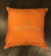 """Nautica Home Vintage Throw Pillow Orange Tan Used Decoration Bed Couch 22"""" X 22"""""""