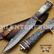 Handmade Damascus Steel Hunting Knife With Acrylic Handle.