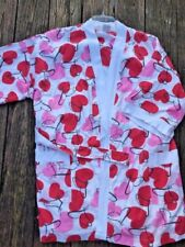 Nearly New CYPRESS Robe Spa Yoga Beach Pajamas PINK RED HEARTS Womens Size L