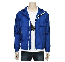 Chris Christy Mens Casual Two Pockets Detailed Windbreaker Jacket Blue Size M