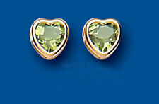 Unique Wishlist 9ct Yellow Gold Peridot Rim Set Heart Studs AP6830