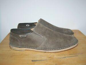 CLARKS Originals Khaki Leather Nubuck Slip On Mens Desert Shoes UK-11 EU-46