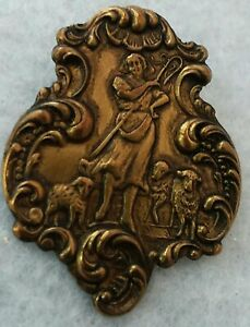 """Vintage Style Shepherd with Sheep Button, Stamped Brass w/ Rococo Border, 1 1/2"""""""