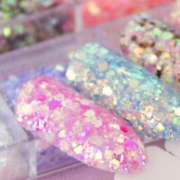 Hexagon Nail Dust Sets Gel Decoration Mixed Mermaid Sequin Glitter 12 Colors