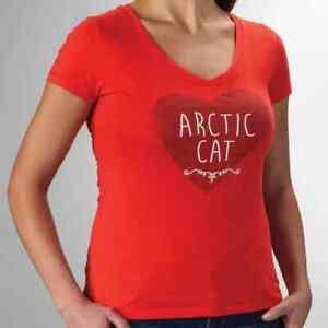 New Arctic Cat Women's Heart V-Neck T-Shirt ~ Poppy~ L~ # 5263-834