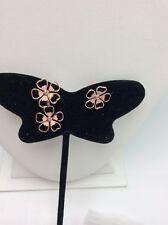 $65 Ted Baker Rose Gold Tone Flower Drop Enamel Nude Pink Earrings A224