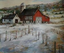 """D'Alessandro Orig Oil Painting on Canvas 24"""" x 24"""" of Charming Farm houses W/COA"""