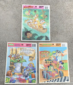 Golden Frame-Tray Puzzle Disney Mickey Mouse Sesame Street Vintage Toy Lot of 3