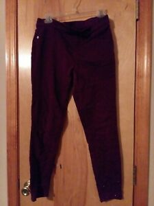 Justice Girls Maroon Colored Size 16 Plus Jeans with Beads on Bottom of Pants