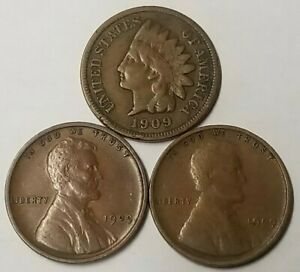 1909 VDB 1909 P Lincoln Cent Wheat Penny 1909 Indian Head Penny 3 Coin Lot VG-XF