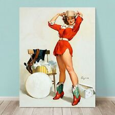 "VINTAGE Pin-up Girl CANVAS PRINT Gil Elvgren  36x24"" Something New Western"