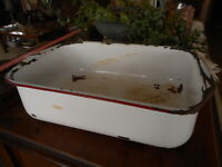 """Rustic Chipped Red White Enamel Wash Basin Dented Farmhouse apx 16x11x4.5"""""""
