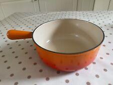 Le Creuset Cousances Vintage Cast Iron Saucepan Fondue Pan 22cm Volcanic Orange.