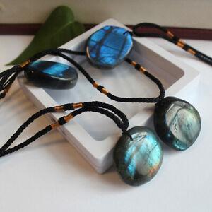 1PC Natural Labradorite Pendant Moonstone Crystal Necklace Healing Stone NEW