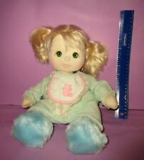 Vintage Mattel My Child Doll Blonde Green Eyes Blue Slippers Pajamas Outfit