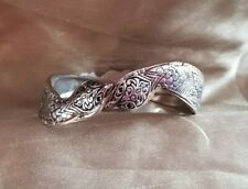 Silver Coloured Snake Bangle Bracelet Hinged Boho Hippy Festival