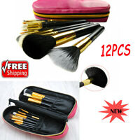 12pcs Pro Makeup Brush Set Powder Foundation Black Blush Brushes & Cosmetic Bag