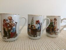 Set (3) Norman Rockwell Museum 1982 24K Gold Rimmed Mugs-Great Holiday Gift