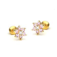 14k Gold Plated October Flower Children Screw Back Baby Girls Earrings