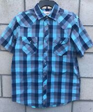 Coastal Western Pearl Snaps Mens Shirt Size L Cowboy Rockabilly Short Sleeves