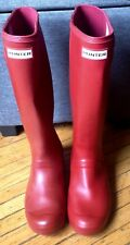 HUNTER Tall   Red Rubber Rain Boots  Womens US SZ 7
