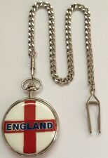 ENGLAND POCKET WATCH inc CHAIN BOXED GREAT FATHERS DAY Or ENGLAND FAN GIFT