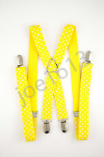 Yellow White Dots Mens Adult Suspender Elastic X Back 4 Clip Adjustable SD76