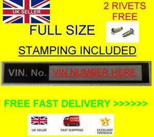 UNIVERSAL CAR VIN Plate STAMPED WITH YOUR INFO Chassis Frame ID Tag blank TAG #