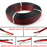 2Pin 18 20 22 24 26AWG Schwarz Rot Kabel Erweiterung Draht 3528 5050 5630 LED B7