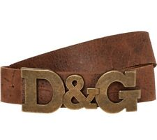 SALE! DOLCE & GABBANA D&G Logo Plaque Leather Belt - Made In ITALY