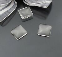 25pcs Square 15mm Clear Transparent Domed Magnifying Glass Cabochon Cover #22642