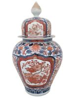 Large Japanese Antique Imari Porcelain Vase and Cover Hand Painted 19th C